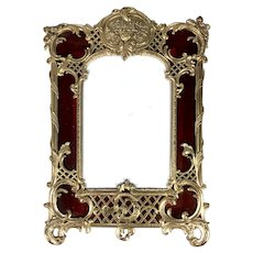 "Antique French Dore Bronze 10"" Tall Frame, Eglomise Glass looks like Tortoise Shell, c.1870"
