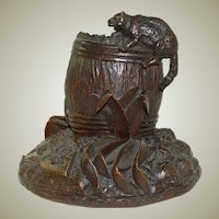 Antique Black Forest Carved Cat ? Cigar Caddy, Pen Holder