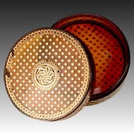 Antique French 1700s Blond Faux Tortoise Shell Snuff or Boiled Horn Patch Box, 18K Gold Pique, Museum Piece