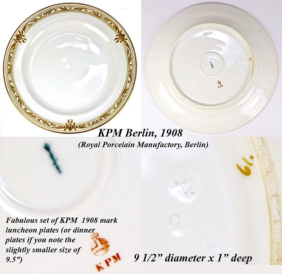 Click to expand  sc 1 st  Ruby Lane & Set of 11 1908 Marked KPM Raised Gold Dinner Plates - Each marked ...