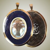"Antique Georgian Mourning Locket, 3"" 12K Gold Frame."