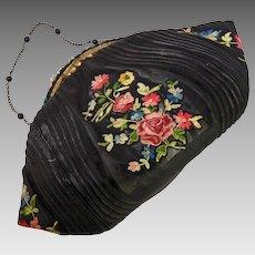 Vintage French Black Silk & Embroidered Evening Bag, Purse, c.1920-40