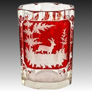 Excellent Antique Bohemian Hunt Theme Ruby Glass Tumbler, Stag
