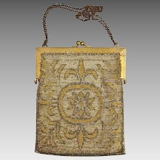 Antique French Made Heavy Metal Micro-Bead Beadwork Bag, Purse, c.1915
