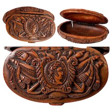 Antique Napoleon Era French Carved Coquilla Nut Snuff Box, Napoleon Commemorative