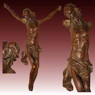 Antique 1700s European Carved Wood Christ Corpus Sculpture for Crucifix, Superb Detail