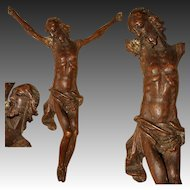 Antique 1700s European Carved Wood Christ Corpus Sculpture for Crucifix, Superb Detail