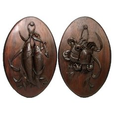 "Antique Victorian Era Black Forest Style 19"" Wall Plaque PAIR: Unique Sea or Marine Theme"