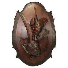 "Fine Antique 29.5"" Tall Hand Carved Black Forest Plaque - Fruits of the Hunt, Pheasant & Game Hen"