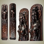 "Fine Antique French Carved Wood Caryatid Figures, 23.5"" Tall - Cabinet Fragment,  Architectural Salvage"