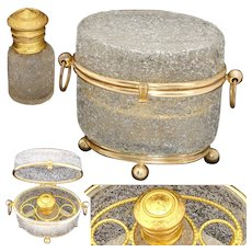 Antique French Scent Caddy, Casket in Crackle or Overshot Glass, Fitted With Perfume Flask, Bottle