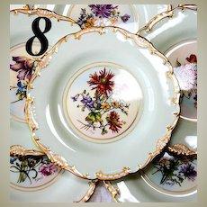 Fine Vintage Set of 8 Hand Painted Minton Plates, Raised Gold Enamel