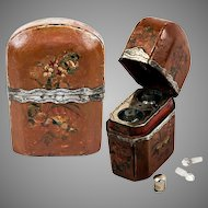 Antique French HP 1700s to 1810 Vernis Martin Perfume Box, Etui, 2 Bottles