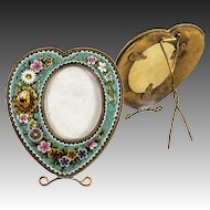 Antique Victorian to Edwardian Micromosaic Frame, Heart Gem