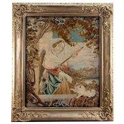 Antique Victorian Needlework Tapestry in Fine Frame, Needlepoint Cat & Tassel Maker - WOW
