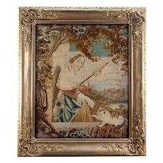 Antique Victorian Needlework Tapestry in Fine Frame, Needlepoint Cat & Tassel Maker - WOW