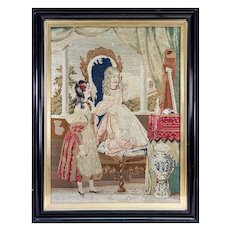 Superb French Victorian Era Needlepoint Tapestry in Frame, 2 Girls, Interior