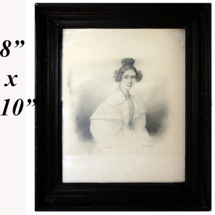 Antique c 1835s French Portrait Drawing, Sketch of Young Woman, Ingres?, In  Frame