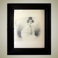 Antique c.1835s French Portrait Drawing, Sketch of Young Woman, Ingres?, In Frame