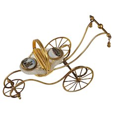 "RARE 8.75"" Long Palais Royal Carriage Box, Jewelry Casket, Grand Tour Eglomise Notre Dame, Opaline Egg, Crackle Glass"