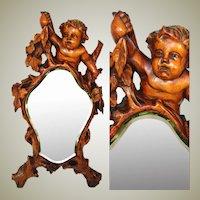 "Antique c. mid 1800s Italian Renaissance Style Carved 17.5"" Vanity Mirror, Cherub or Putti Figural"
