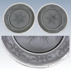 """Lovely PAIR of Antique French Sterling Silver & Intaglio Etched Glass 8 3/8"""" Plate Set, Champagne or Wine Coasters"""