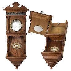 Antique French Miniature Wall Clock Casing is a Pocket Watch Holder, Stand. Great for Doll House, Bru, etc.,