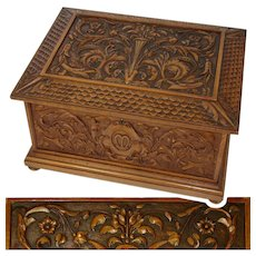 "Superb Antique French Renaissance Revival, Neo-Gothic Carved 14"" Chest, Jewelry, Cashmeres Trousseau"