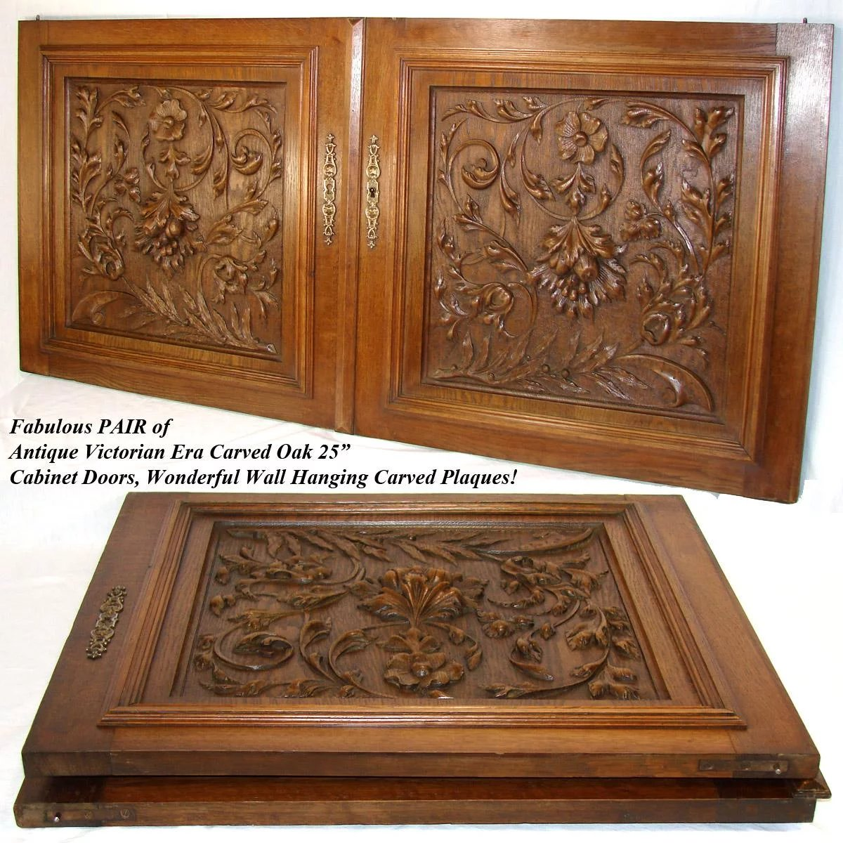 lg antique victorian era 25 u0026quot  french black forest style oak cabinet or   antiques  u0026 uncommon