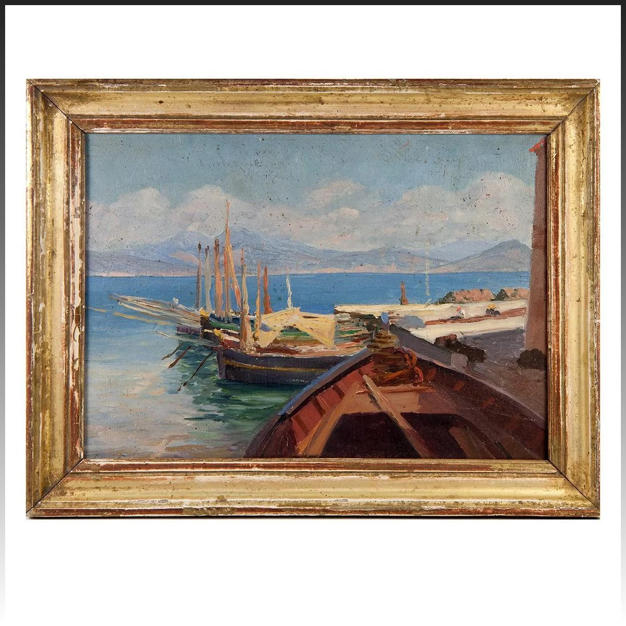 Antique French Oil Painting in Frame, Harbor Boats Landscape ...