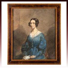 Superb Antique French Aquarelle Portrait, Frame, artist: Ludovic Alfred de Saint-Edme (French, born 1820)