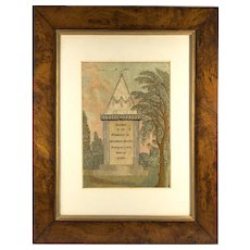 Antique English Silk Embroidery Sampler, Mourning, Tapestry in Frame, c.1808