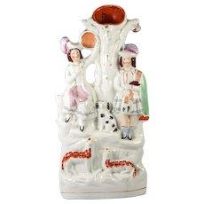 "Antique English Staffordshire Spill Vase, Scottish Man in Kilt, Dog, Sheep & Girl, 14.5"" Tall"