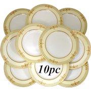 "Rare 10pc Antique 1892 Copeland 10"" Dinner Plate Set, Raised 18k Gold Enamel"