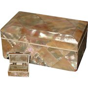 "Antique Victorian Era Abalone or Mother of Pearl Marquetry 4"" Jewel Casket, Box"