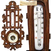 """Antique Victorian Era Black Forest Style Carved 17 3/8"""" Wall Barometer & Thermometer"""