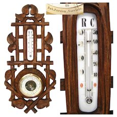 "Antique Victorian Era Black Forest Style Carved 17 3/8"" Wall Barometer & Thermometer"