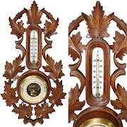 """Antique Edwardian Era French or Swiss Black Forest 18"""" Wall Barometer & Thermometer, Carved Leaves"""