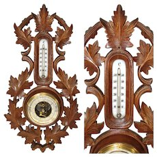 "Antique Edwardian Era French or Swiss Black Forest 18"" Wall Barometer & Thermometer, Carved Leaves"