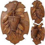 "Antique Black Forest Carved 8.5"" Wall Hanging Match Holder Plaque, Foliage & Basket with Striker"