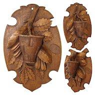 "Antique Black Forest Carved 8.5"" Wall Hanging Match Holder Plaque, Foliage & Basket with Striker"