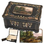 """Gorgeous Antique French Boulle Inlay 12.75"""" Jewelry or Desk Box, Eglomise Fox Hunt Scene, Horses, Hunters & Hounds!"""