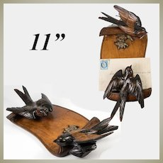 Delightful Antique Black Forest Carved Letter Holder, Two Birds with 2-Tone Eyes