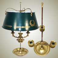 Antique French Bouillotte Candle Lamp, Empire Period 3-Branch with Tole Shade, Swans c.1810