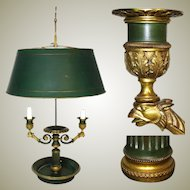 Antique French Bouillotte Candle Lamp, 2nd Empire Period 2-Branch with Tole Shade, c.1880
