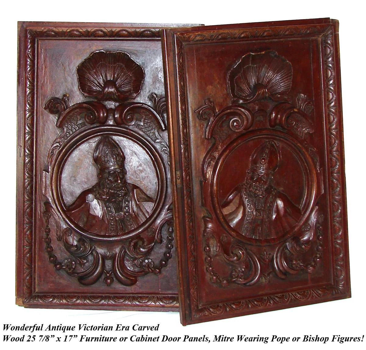 Pair Antique Victorian 26x22 Quot Carved Wood Architectural