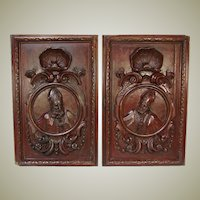 "PAIR Antique Victorian 26x22"" Carved Wood Architectural Furniture Doors, Panels,"