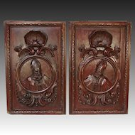 """PAIR Antique Victorian 26x22"""" Carved Wood Architectural Furniture Doors, Panels,"""
