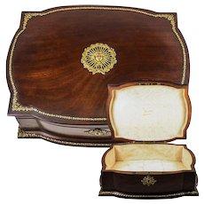 Superb Antique French 2nd Empire Jewelry Box, Chest, Casket, Dore Bronze Appliqués