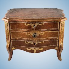 Antique French Gilt Embossed Leather Miniature Doll Sized Chest of Drawers, Furniture, Empire Style Jewelry Box